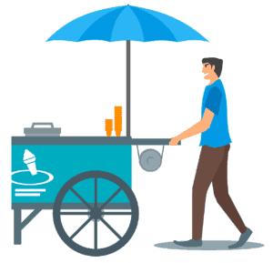 ICE CREAM MAN WITH A ICE CREAM CART