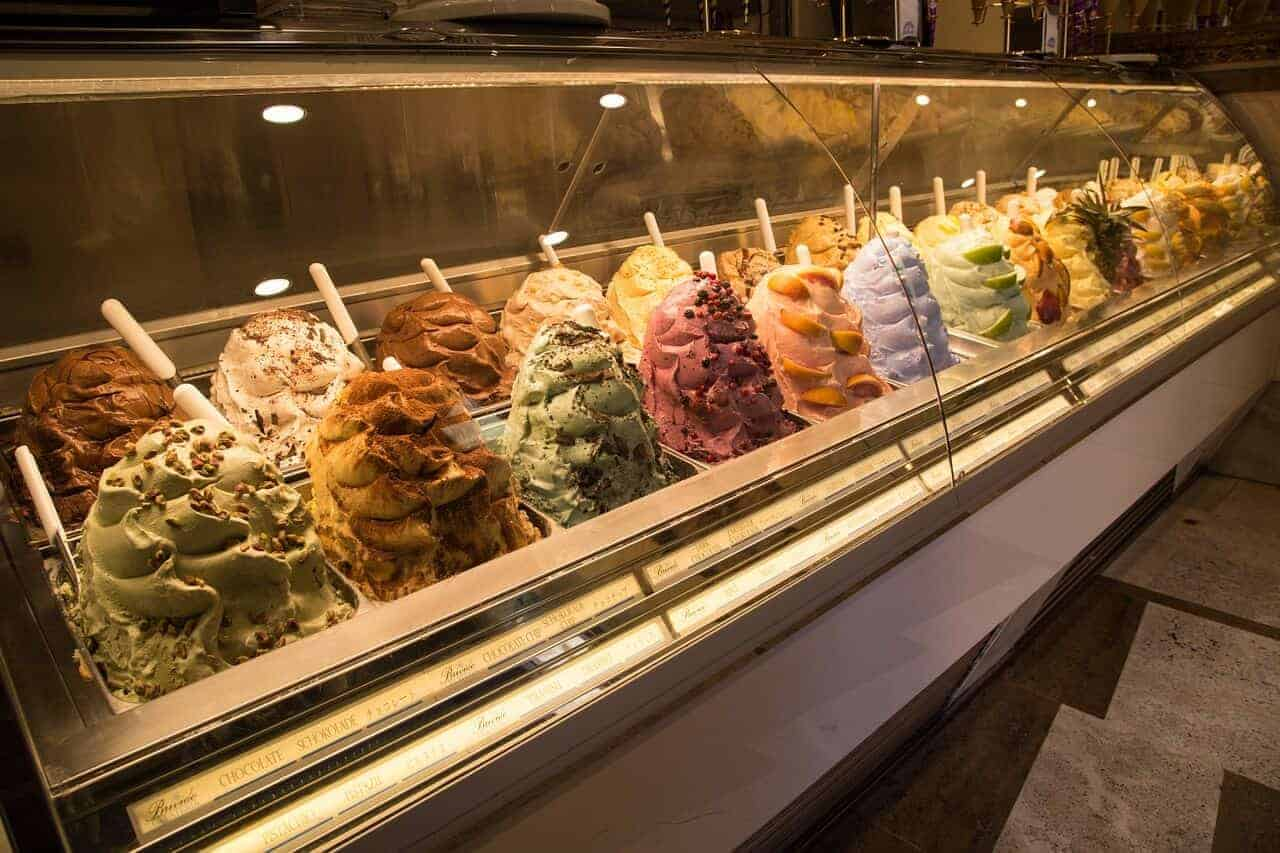 ice cream display with pretty decoration
